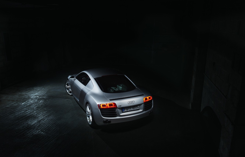 Photo wallpaper Audi, Dark, Supercar, Silver, Rear, Ligth, Motor