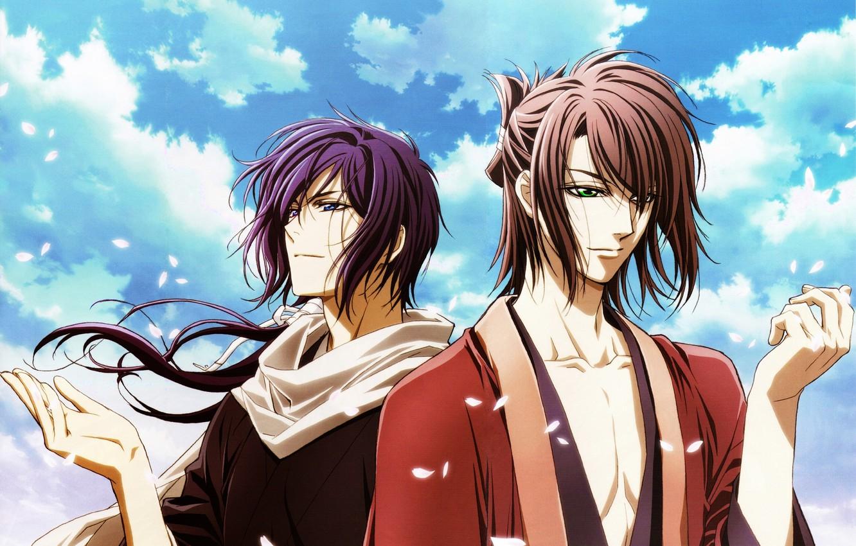 Photo wallpaper the sky, clouds, the wind, petals, Sakura, guys, samurai, Hakuouki, Okita Souji, Saitou Hajime, demons …