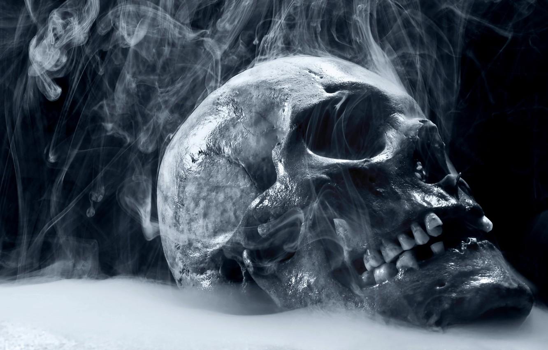 Photo wallpaper smoke, skull, teeth