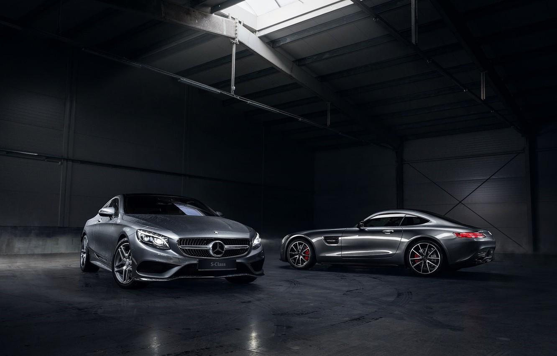 Photo wallpaper Mercedes-Benz, German, Cars, AMG, Smoke, S Class, Automotive, Angar