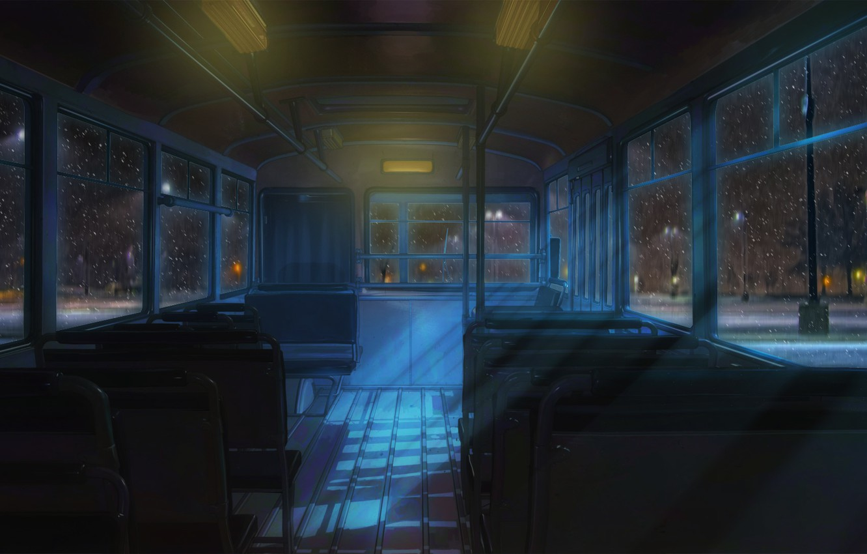 Photo wallpaper night, street, bus, everlasting summer, endless summer, iichan-eroge