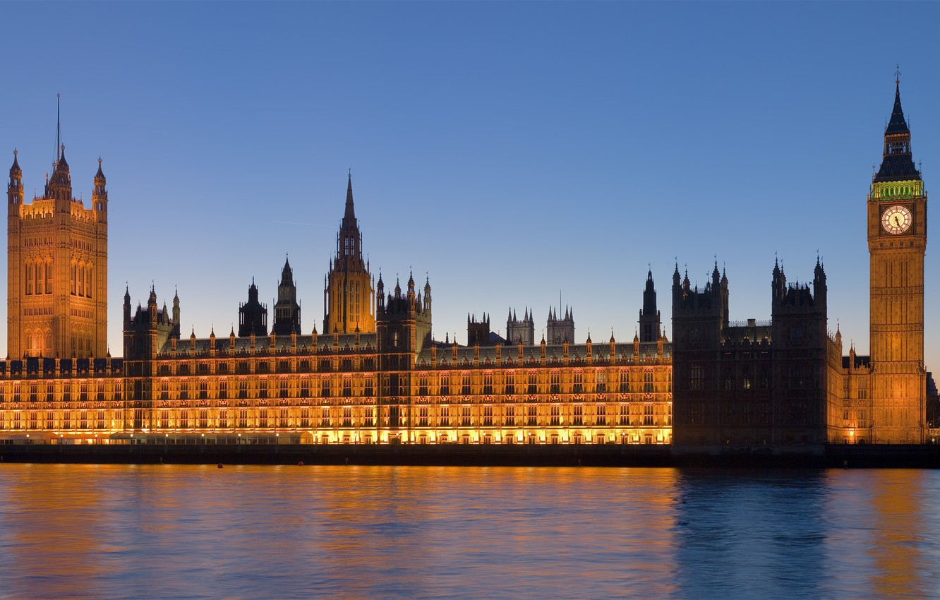 Photo wallpaper the city, river, watch, view, England, panorama, Britain, UK, england, big Ben, britain, Westminster Abbey