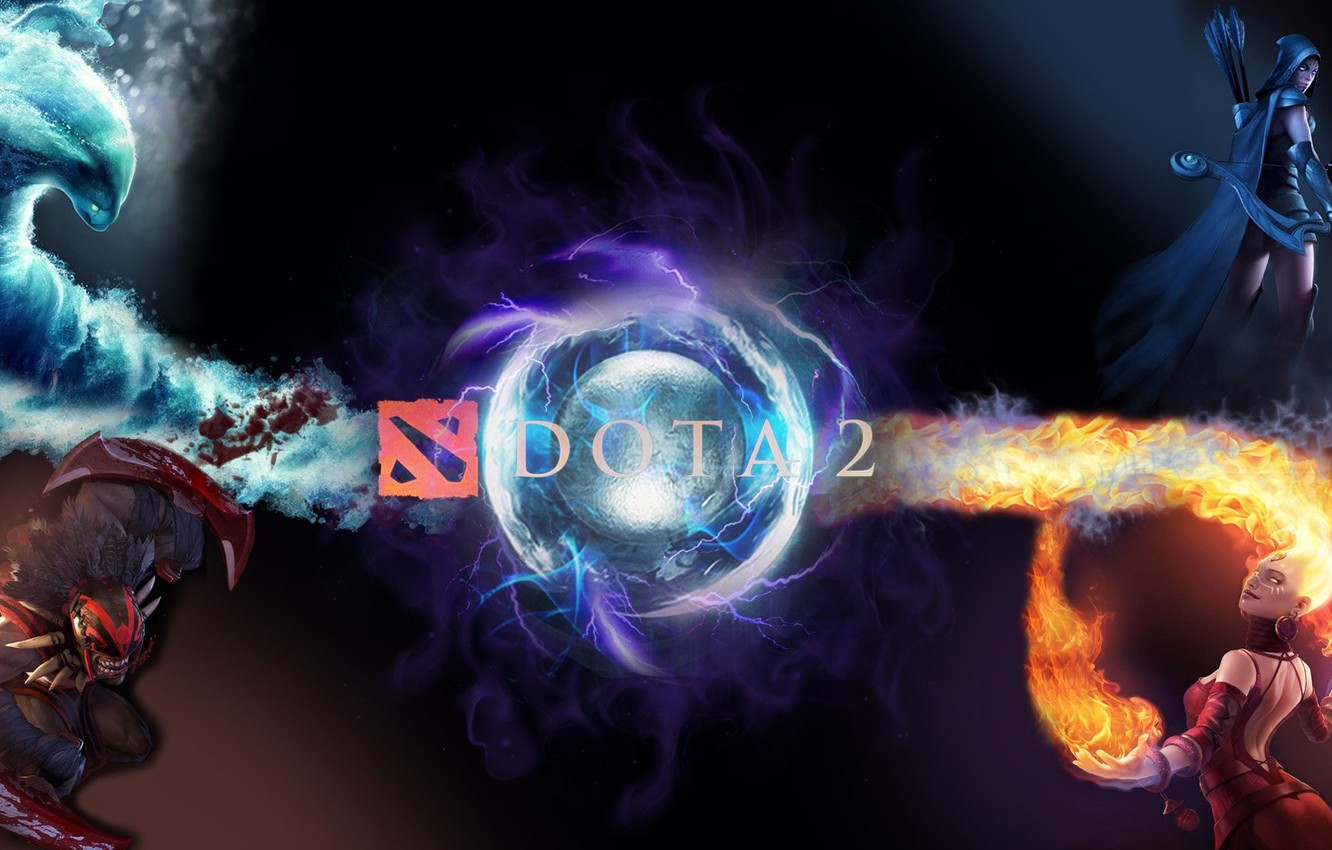 Photo wallpaper water, fire, the opposition, dota 2