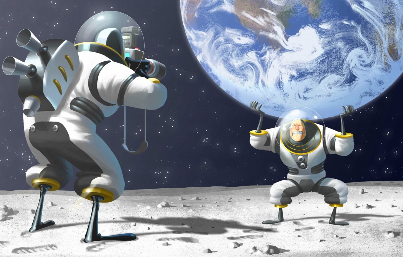 Photo wallpaper space, earth, the moon, humor, posing, the suit, art, the astronauts, the camera