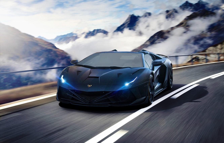 Photo wallpaper Lamborghini, Speed, Front, Tuning, Aventador, Road, Supercar, Fog, Hyper