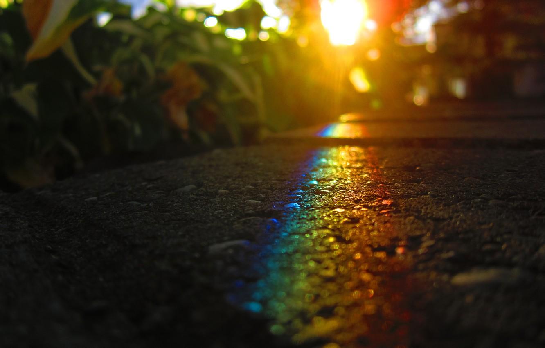 Photo wallpaper asphalt, the sun, light, rainbow, MissCaptianObvious =) (deviantart)