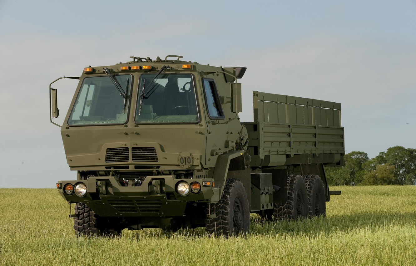 Photo wallpaper field, the sky, truck, military, average, FMTV
