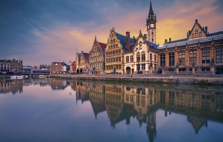Photo wallpaper bridge, river, home, channel, Belgium, Ghent