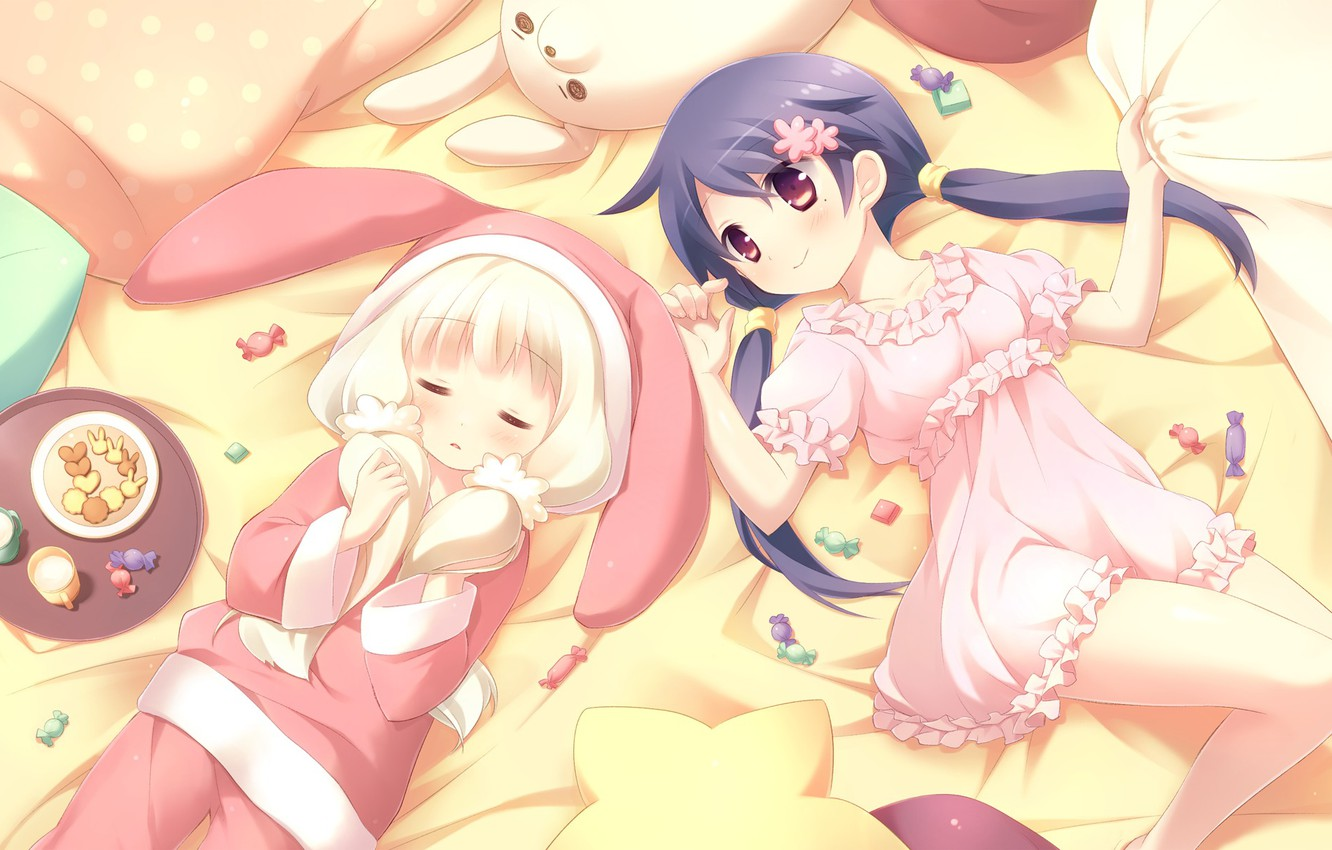 Photo wallpaper girl, toy, bed, anime, rabbit, milk, cookies, candy, heart, sweet, loli
