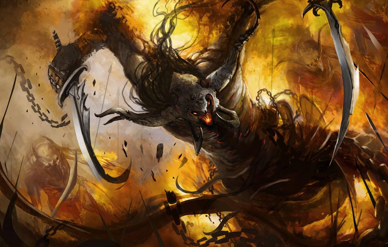 Photo wallpaper weapons, fire, monster, the demon, art, rage, chain, horns, swords