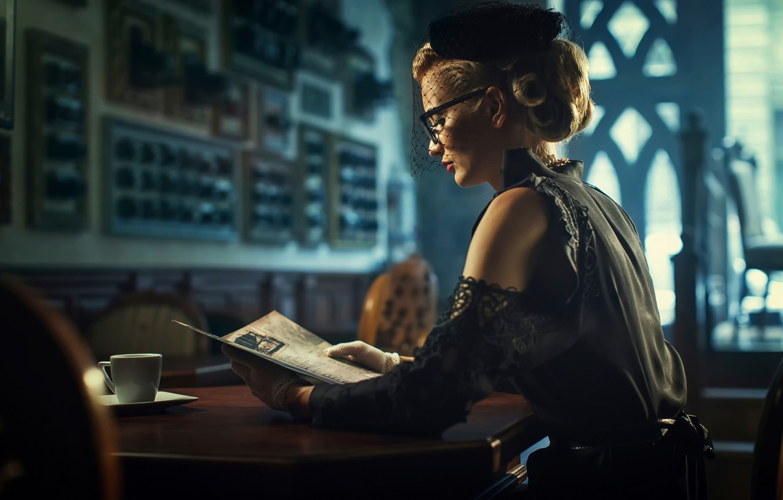 Photo wallpaper reading, blond, black dress, Elegant, retro woman