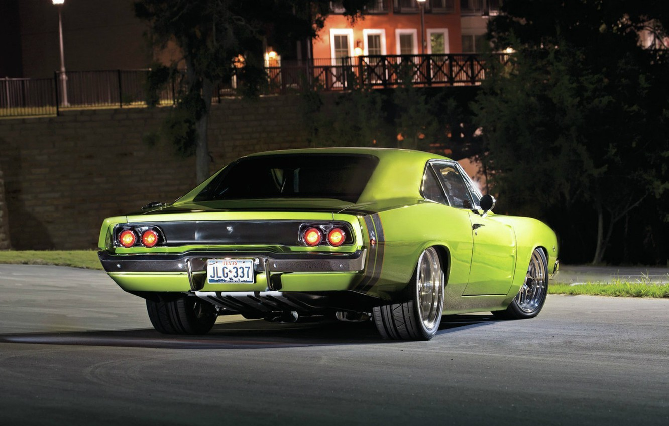 Photo wallpaper Dodge, Dodge, Green, Charger, Night, 1968
