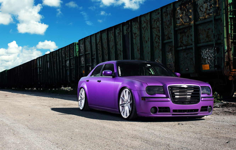 Photo wallpaper Chrysler, wheels, 300, vossen, purple, frontside