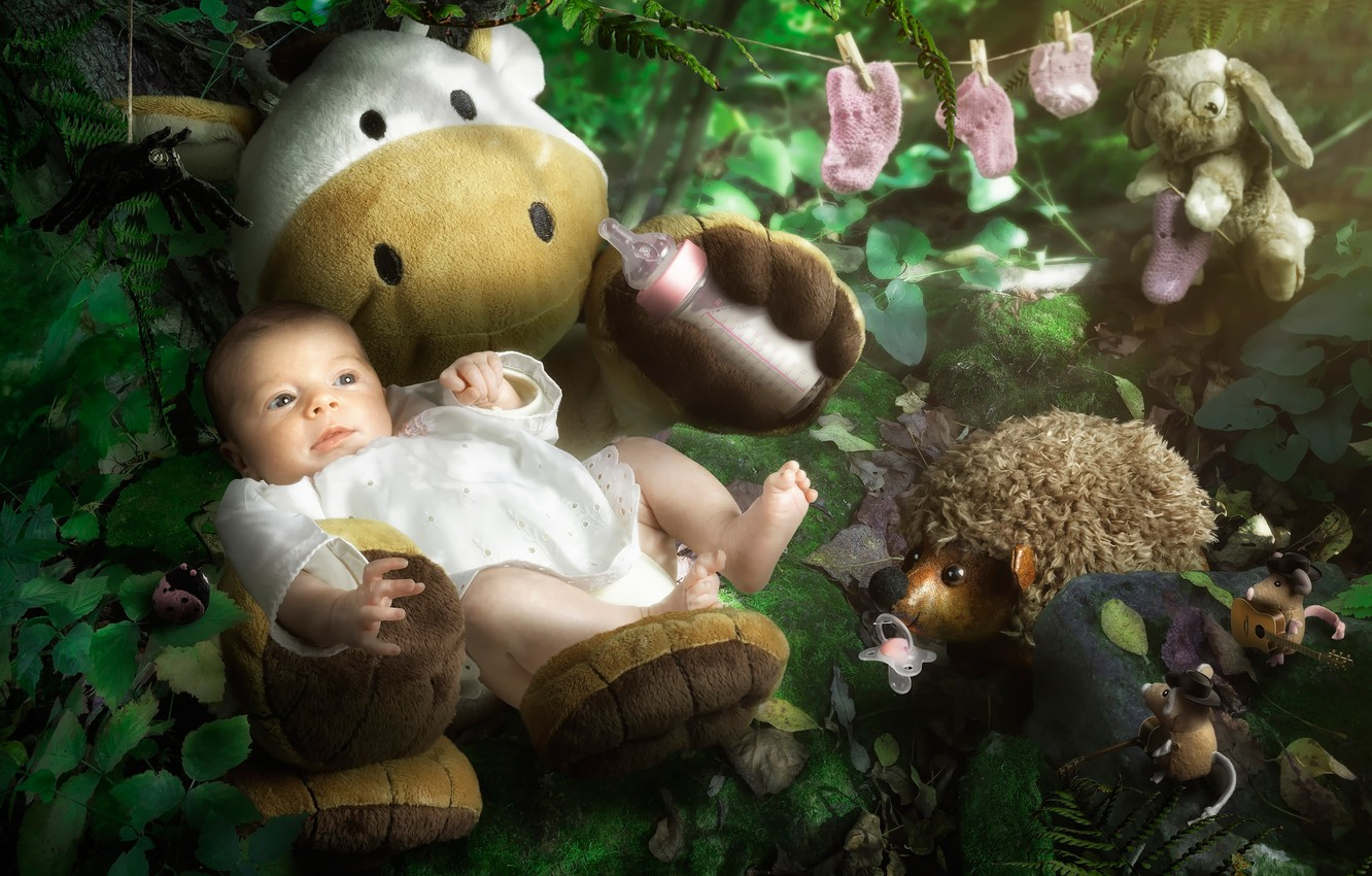 Photo wallpaper toys, nipple, child, baby, booties, dummy