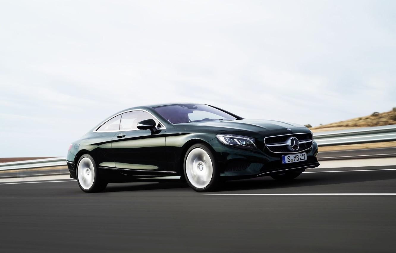Photo wallpaper Mercedes-Benz, Road, Machine, Mercedes, Asphalt, Car, Coupe, Side view, In motion, S-Class