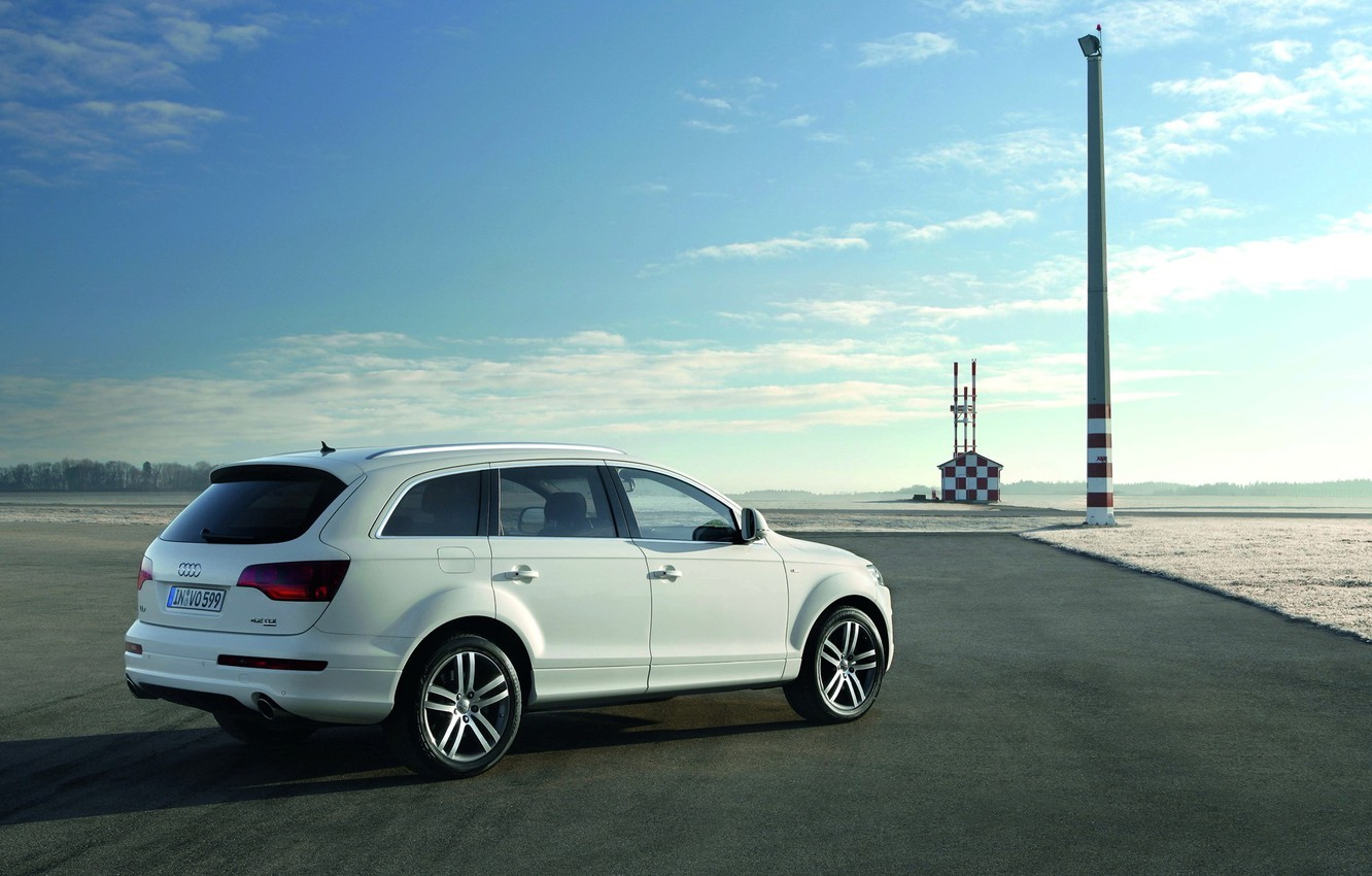 Photo wallpaper the sky, the sun, clouds, Audi, desert, shadow, 2008, horizon, SUV, white, airport, V12, crossover, …
