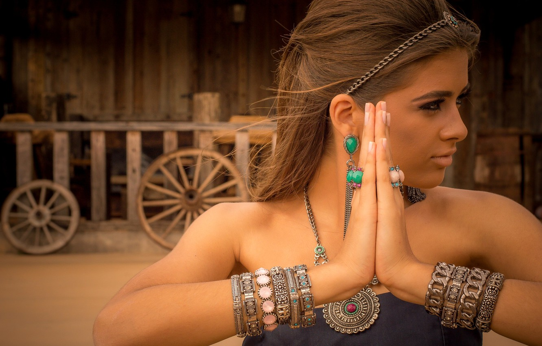 Photo wallpaper girl, decoration, style, hands, bracelets