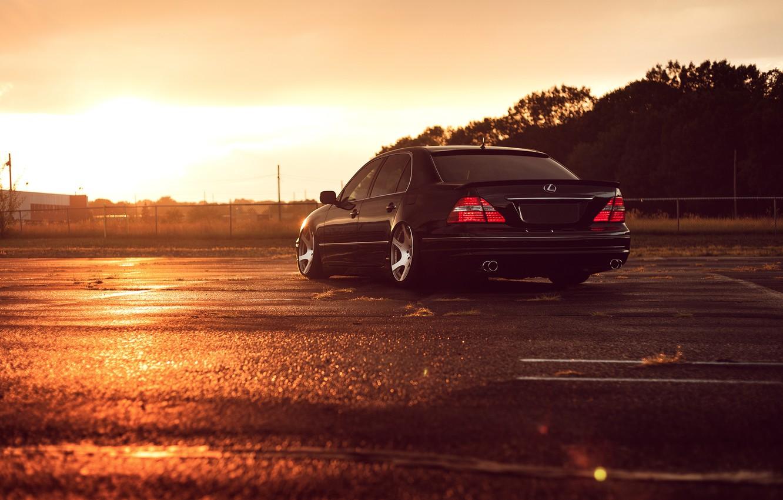 Photo wallpaper Lexus, Black, Color, Sunset, JDM, Stance, Low, Rear, LS 430