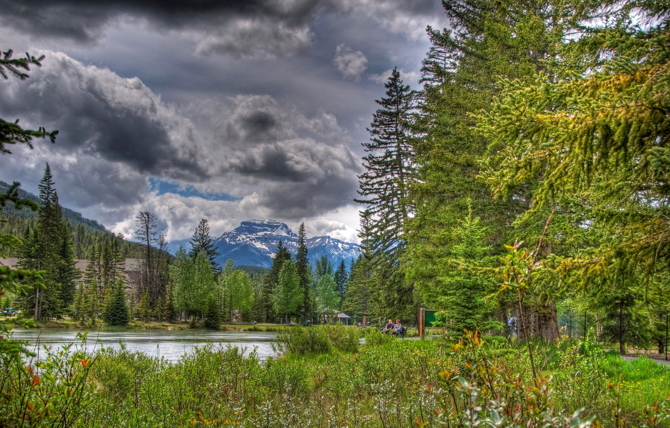 Photo wallpaper the sky, clouds, trees, flowers, mountains, lake, Park, people, Canada, alberta, banff