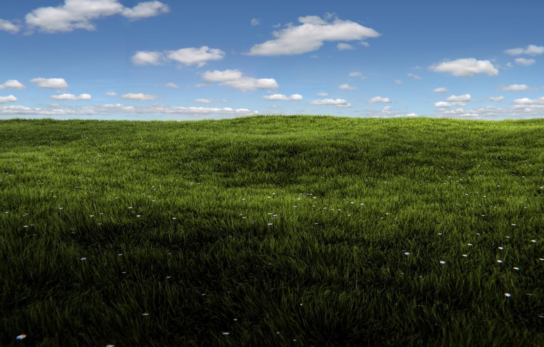 Photo wallpaper greens, field, summer, the sky, grass, the sun, clouds, rendering, Windows, summer, grass, sunshine, render, …
