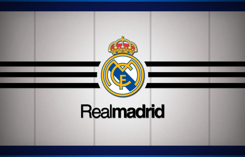 Photo wallpaper logo, white, emblem, minimalism, background, football, soccer, Spain, football club, the white, El Real, Real …