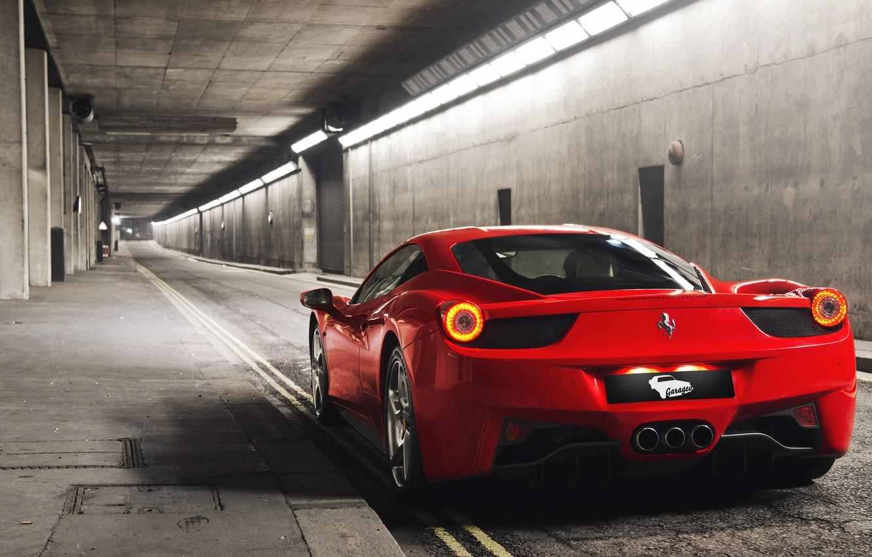 Photo wallpaper red, Ferrari, red, sports car, Ferrari, 458, tunnel, Italia
