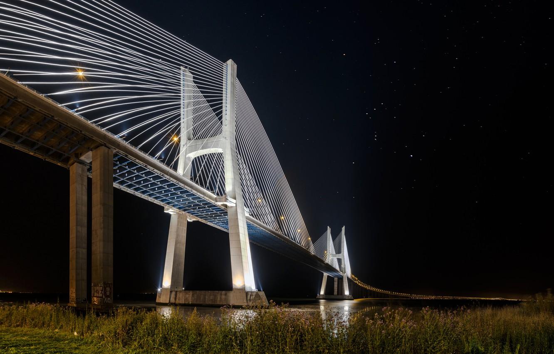 Wallpaper Stars Night Lights Portugal Lisbon Bridge Vasco Da
