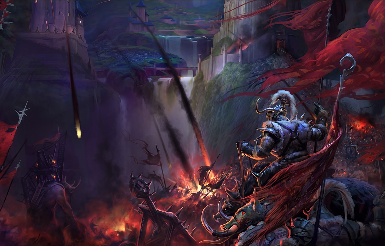 Photo wallpaper fire, war, fortress, warriors, storm, catapult, siege, perfect world