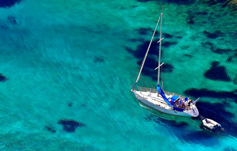 Photo wallpaper sea, water, boat, yacht