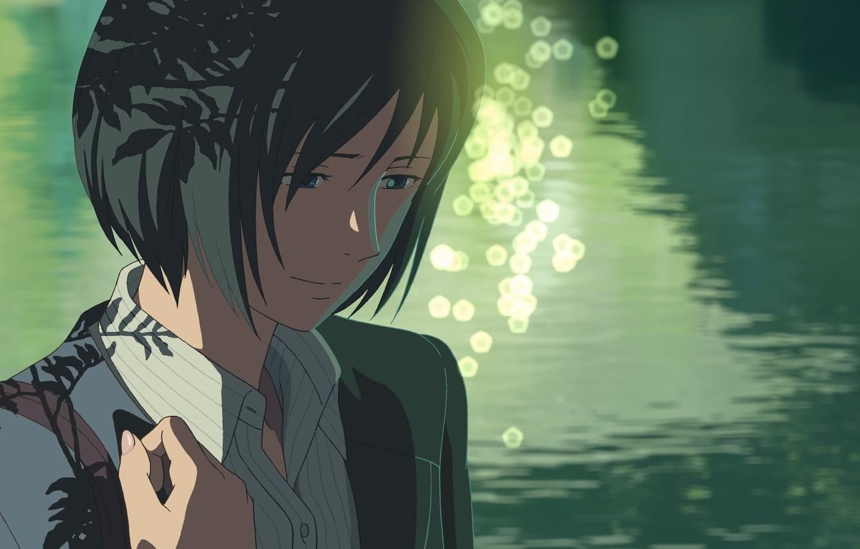 Photo wallpaper Girl, Look, Lake, Girl, Anime, Makoto Xingkai, Anime, The Garden Of Words, Makoto Shinkai, Kotonoha …