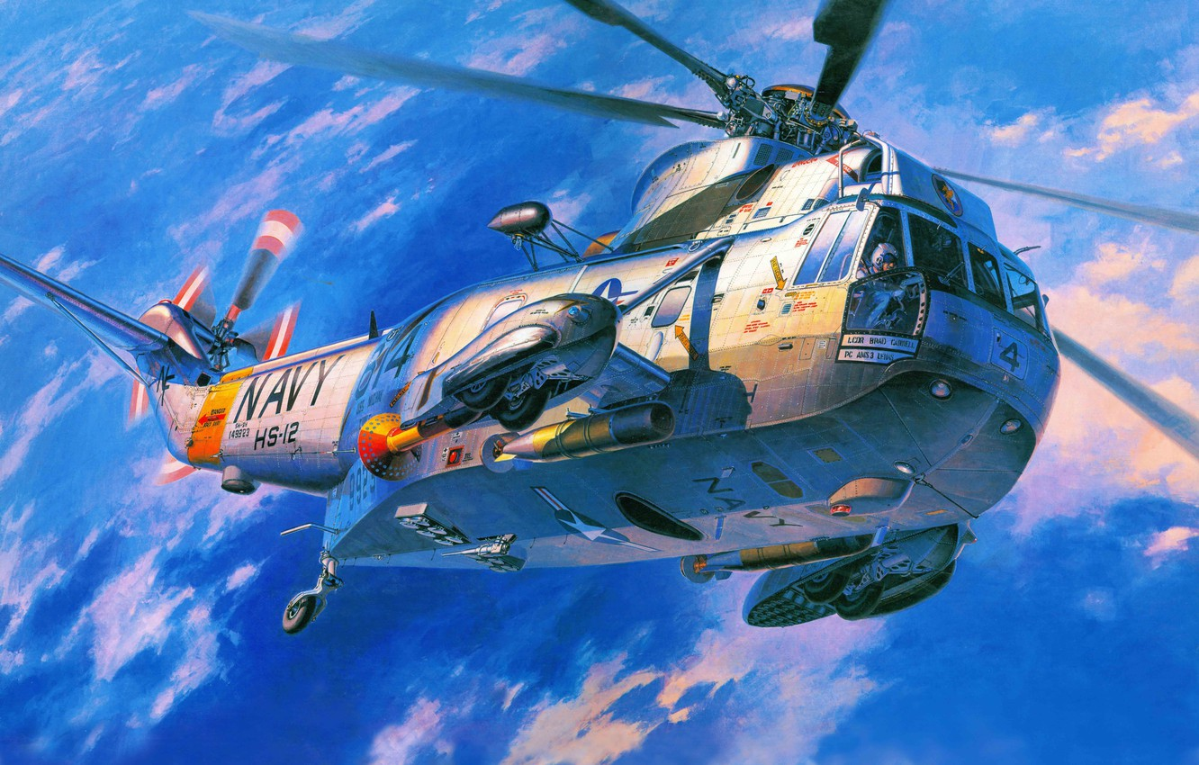 Photo wallpaper art, helicopter, Sikorsky, Sikorsky, Navy, Sea, transport, anti-submarine, USA., King, S-61-SH-3