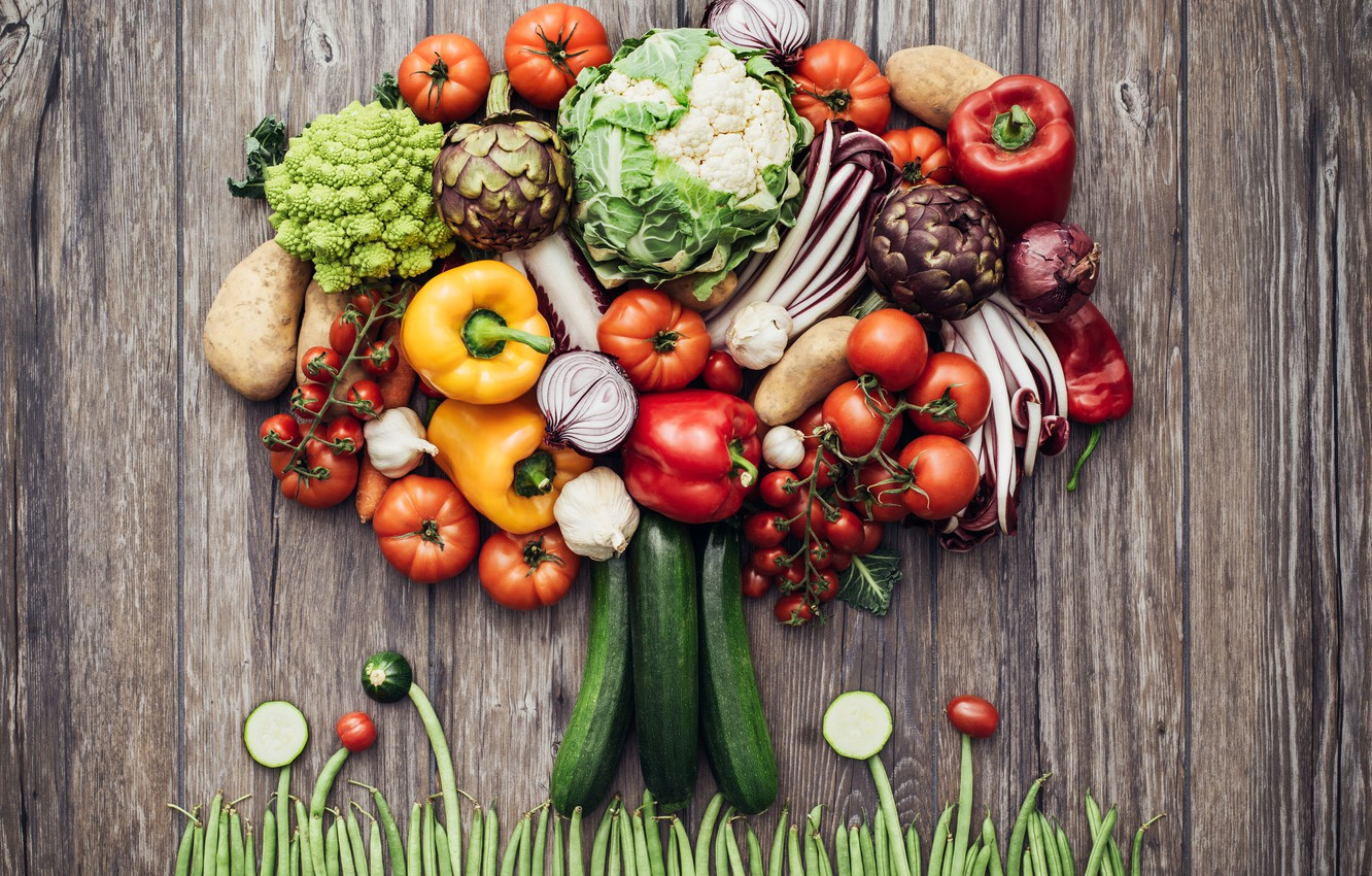 Photo wallpaper grass, creative, tree, bow, peas, pepper, vegetables, tomatoes, cabbage, composition, garlic, potatoes, cucumbers.tomatoes