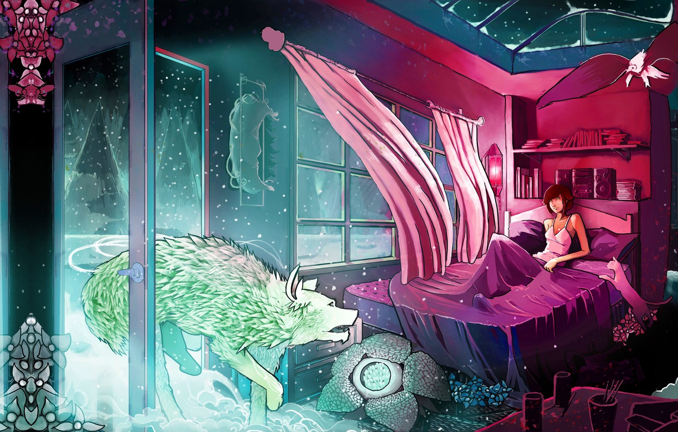 Photo wallpaper cat, color, light, snow, trees, flowers, room, animal, the wind, bird, patterns, books, Windows, bed, ...