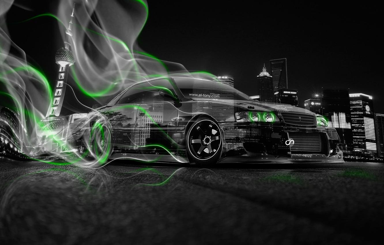 Photo wallpaper Auto, Night, The city, Smoke, Neon, Green, Machine, City, Drift, Toyota, Drift, Car, Art, Photoshop, …
