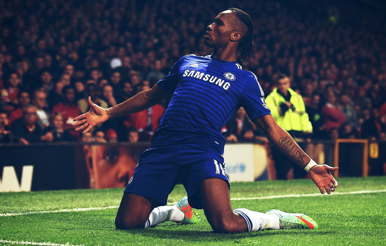 Photo wallpaper Blue, Football, Male, blue, man, football, Chelsea, Chelsea, Drogba, The celebration, stamford bridge, Drogba, Celebration, …