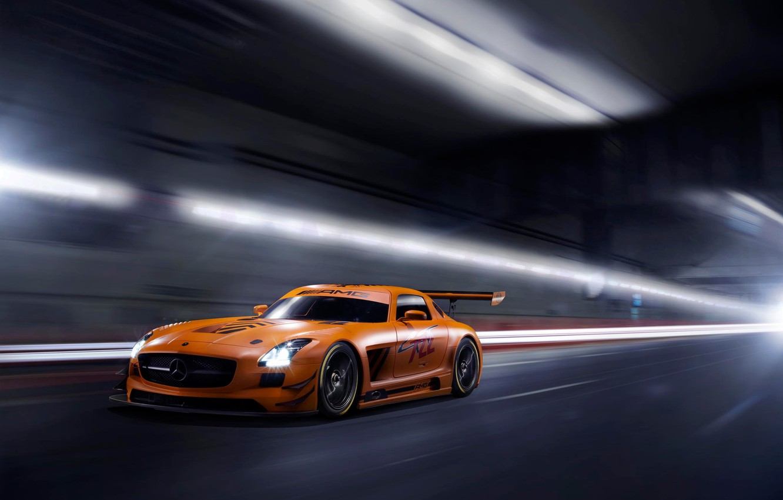 Photo wallpaper orange, Mercedes-Benz, the tunnel, AMG, SLS, GT3, orange, Mercedes Benz