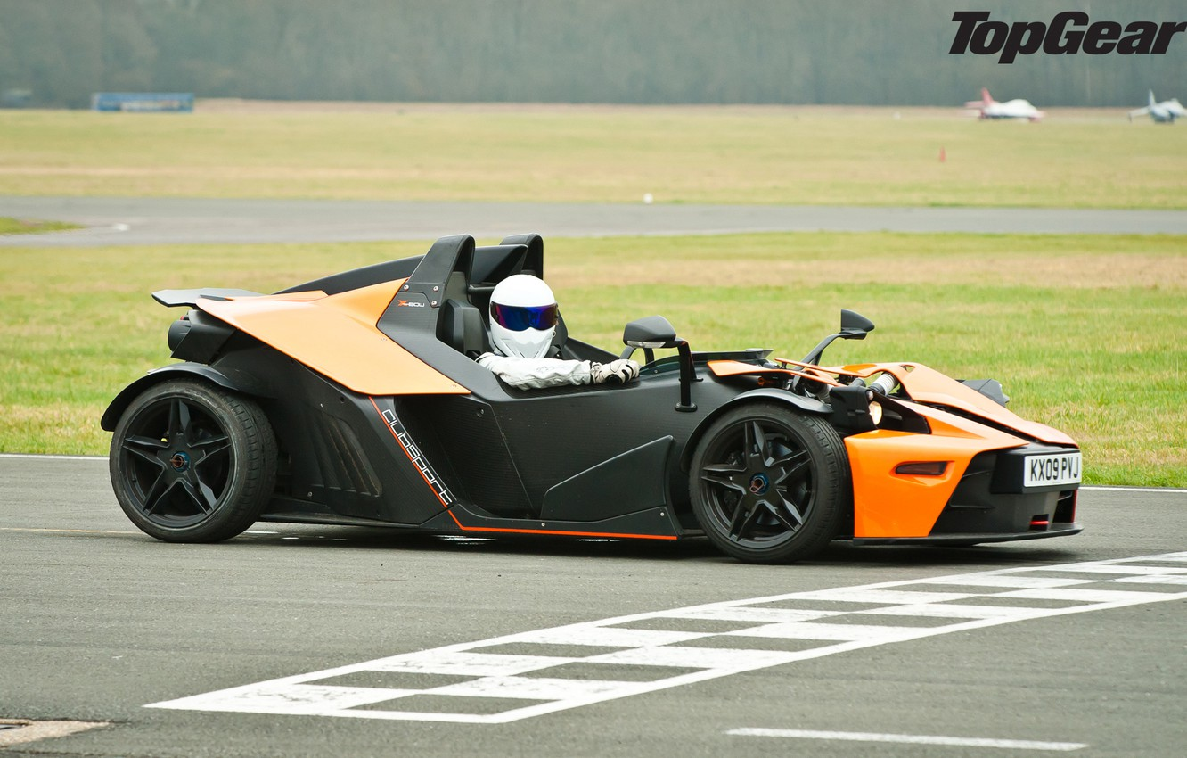 Photo wallpaper Top Gear, supercar, track, KTM, the front, KTM, Stig, The Stig, the best TV show, …