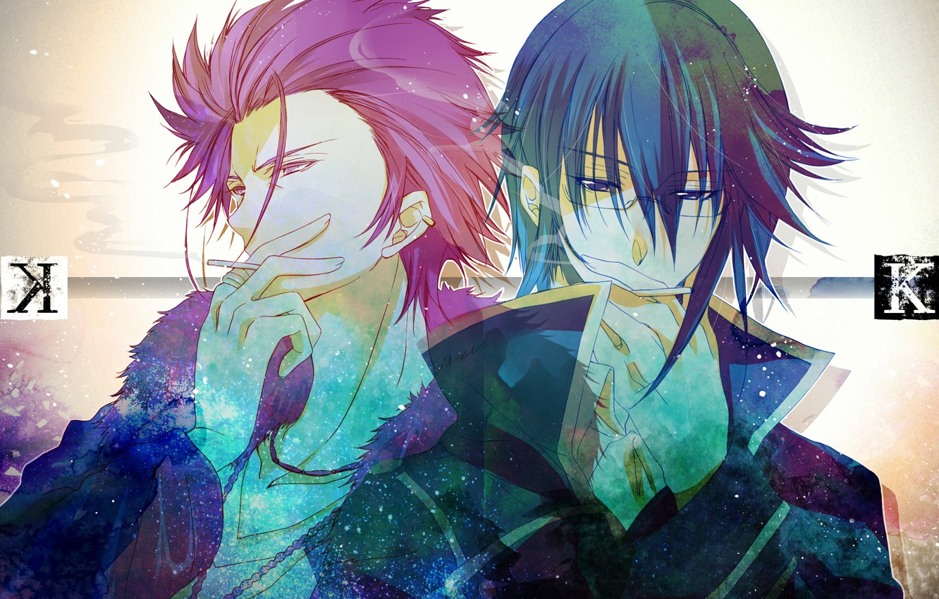 Photo wallpaper text, guys, cigarette, K Project, Munakata Thigh, Suoh Mikoto, red king, blue king