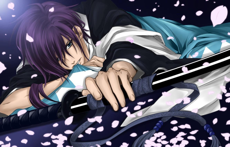 Photo wallpaper sword, anime, petals, guy