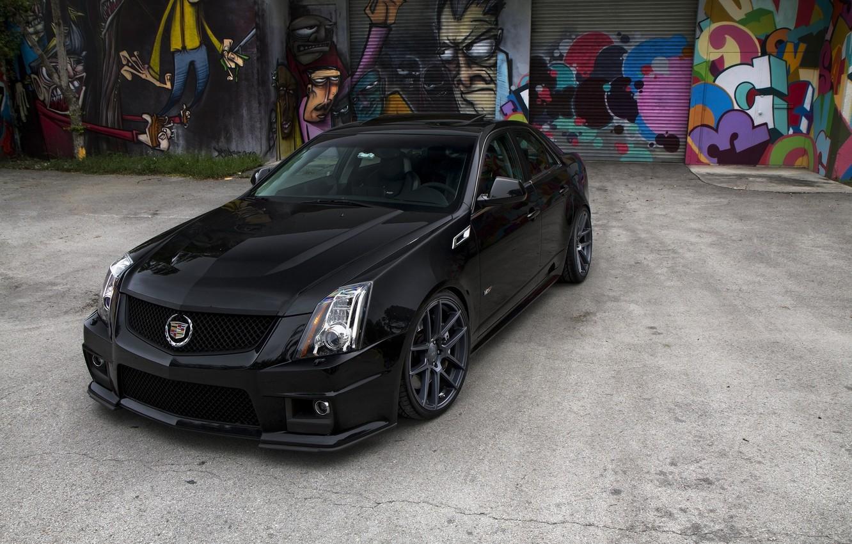 Photo wallpaper black, Cadillac, grafiti, black, CTS-V, Cadillac