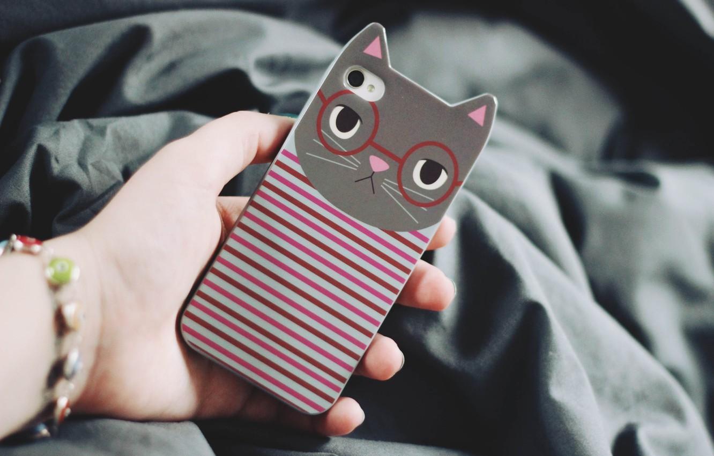 Photo wallpaper cat, strips, strip, hand, iphone, case, iPhone