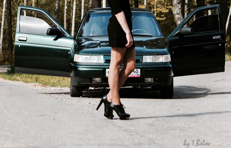 Photo wallpaper machine, girl, legs, Lada, VAZ, 2110