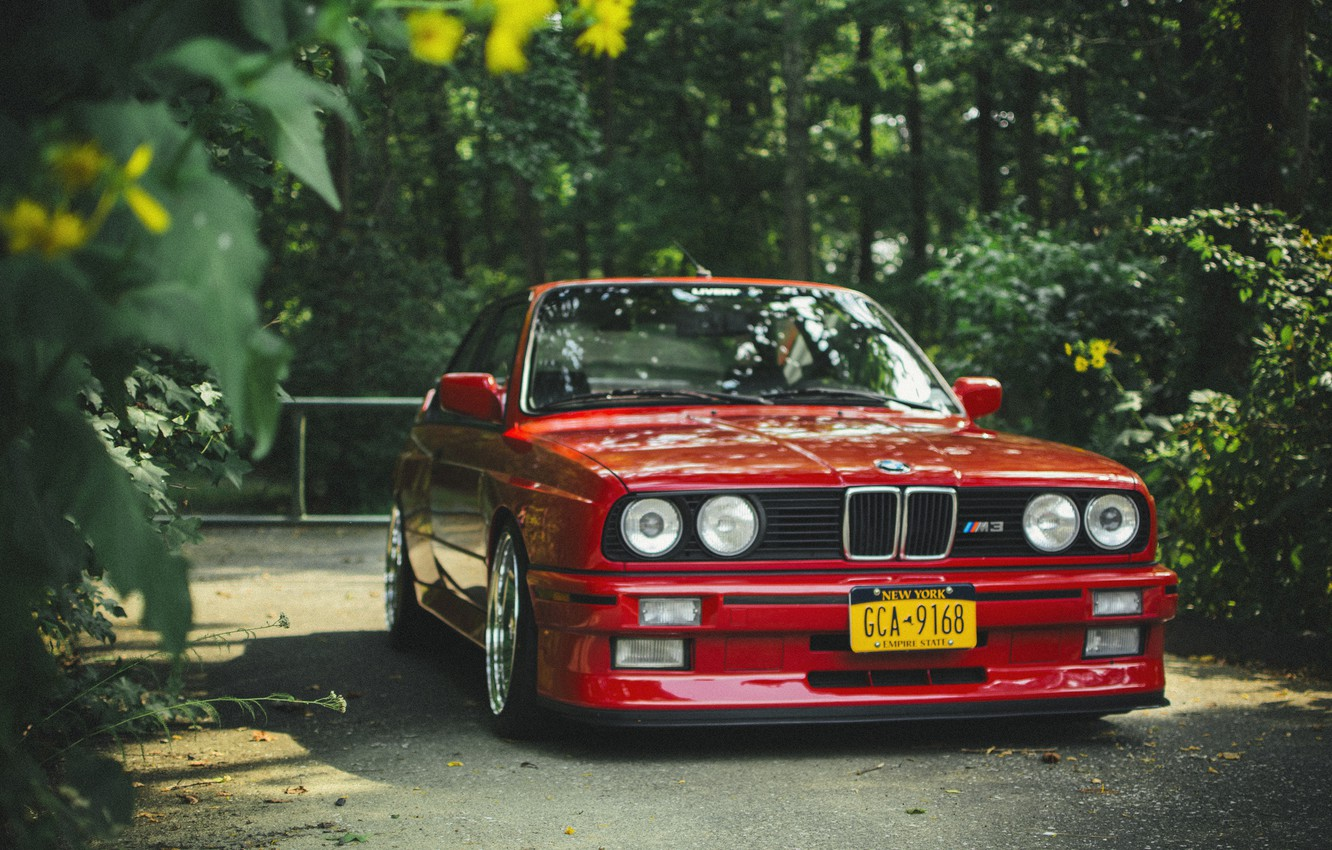 Photo wallpaper BMW, BMW, before, red, red, tuning, e30
