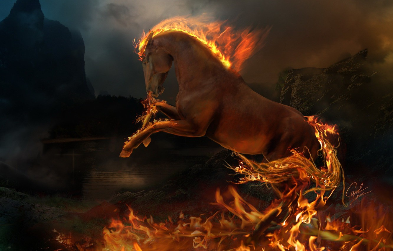 Photo wallpaper fire, flame, animal, horse