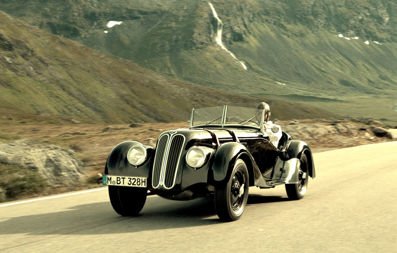 Photo wallpaper road, mountains, bmw, old, rarity, 328