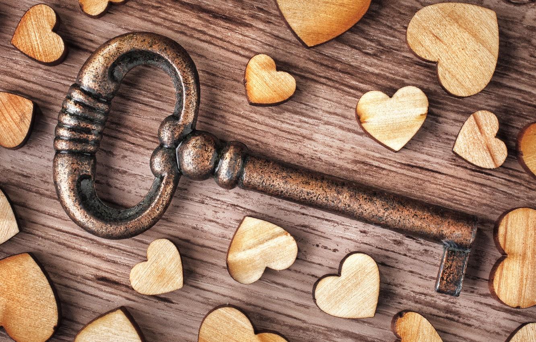 Photo wallpaper love, heart, wood, key, romantic