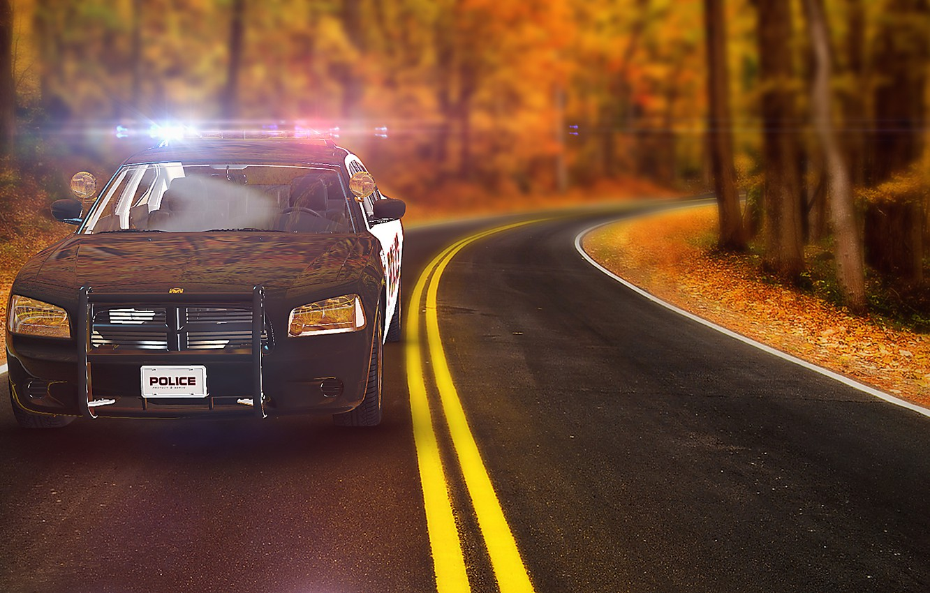 Photo wallpaper Auto, Police, Autumn, Road, After Effect