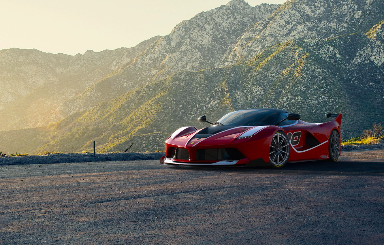 Photo wallpaper Ferrari, Red, Race, Front, Sun, Sunset, Road, Supercar, FXX K, Moutian