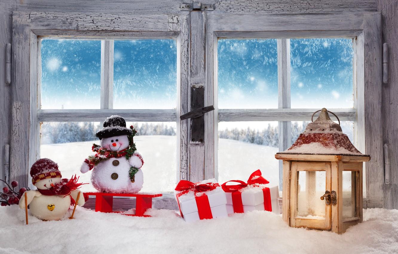 Photo wallpaper Christmas, winter, snow, snowman, decoration