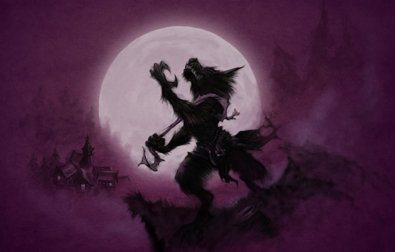 Photo wallpaper The moon, Moon, Wolves, Werewolf, Purple